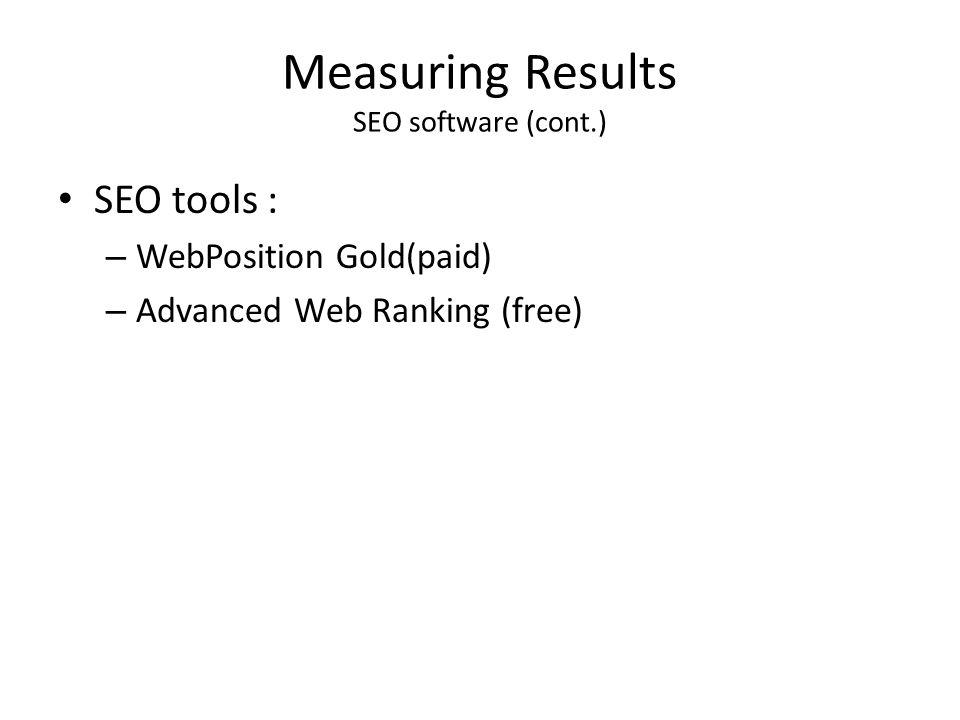 Measuring Results SEO software (cont.)