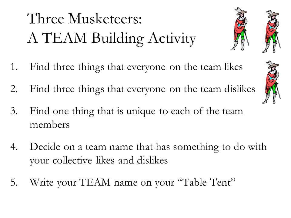 Three Musketeers: A TEAM Building Activity