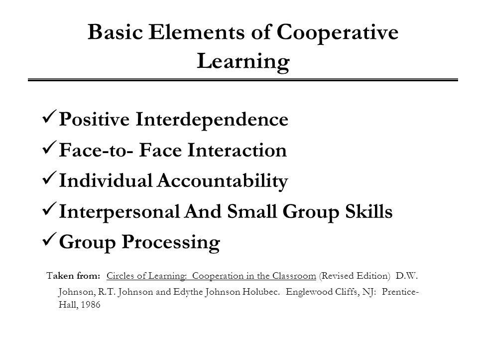 Basic Elements of Cooperative Learning