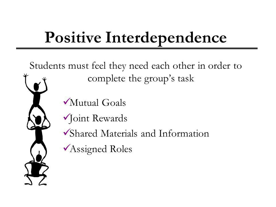 cooperative learning for positive interdependence Cooperative learning positive interdependence task interdependence 1 factory-line 2 chain reaction identity interdependence mutual identity (name, motto, etc.