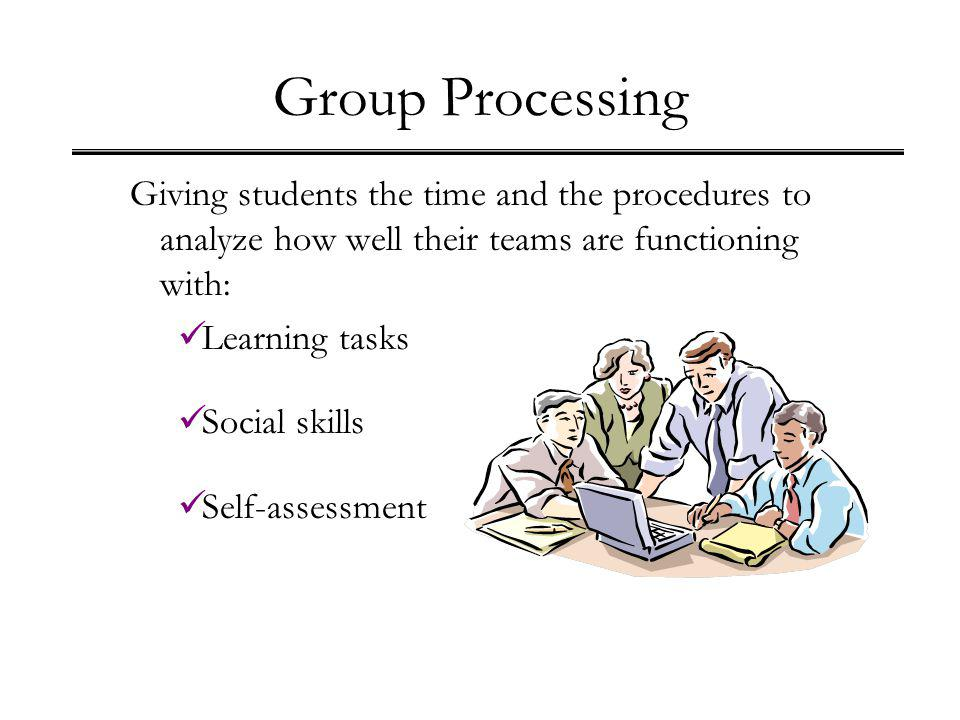 Group Processing Giving students the time and the procedures to analyze how well their teams are functioning with: