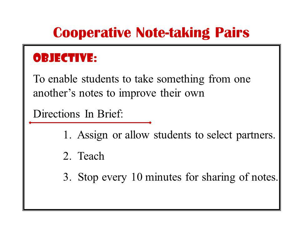 Cooperative Note-taking Pairs