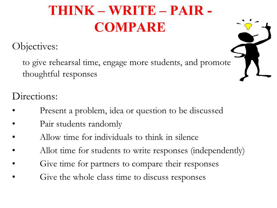 THINK – WRITE – PAIR - COMPARE