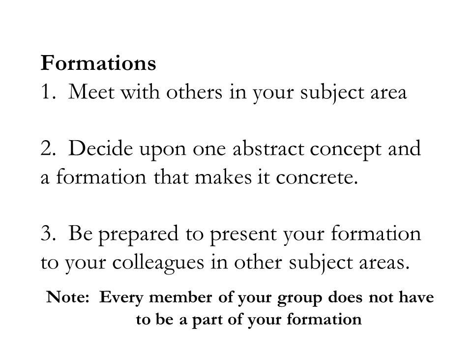 Formations 1. Meet with others in your subject area 2