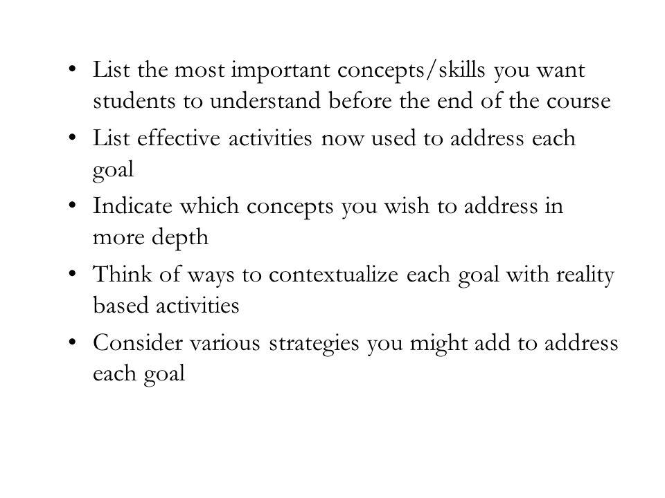List the most important concepts/skills you want students to understand before the end of the course