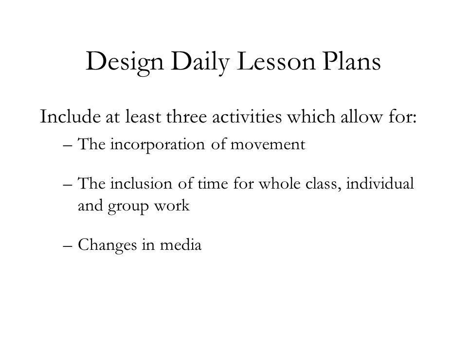 Design Daily Lesson Plans