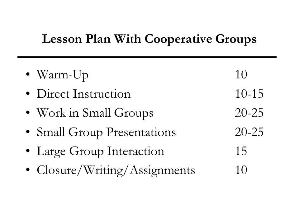 Lesson Plan With Cooperative Groups