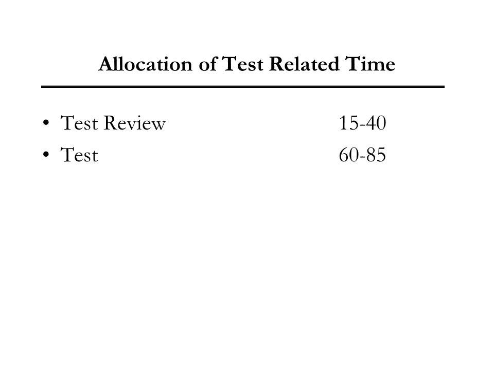 Allocation of Test Related Time