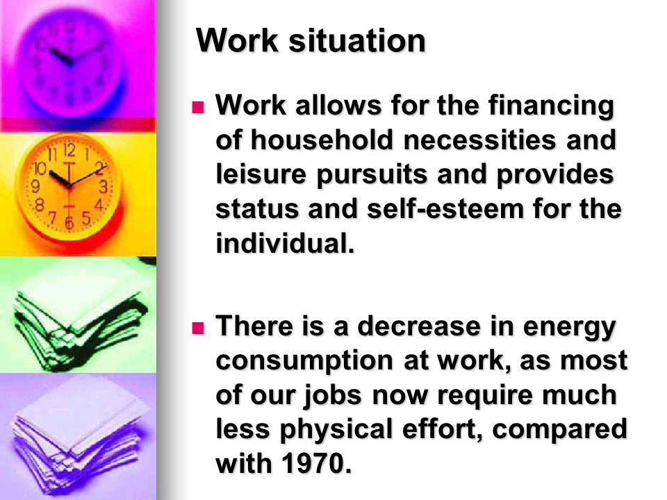 Work situation Work allows for the financing of household necessities and leisure pursuits and provides status and self-esteem for the individual.