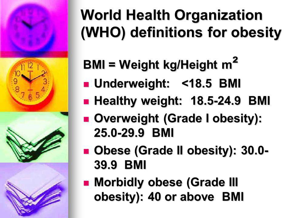 World Health Organization (WHO) definitions for obesity