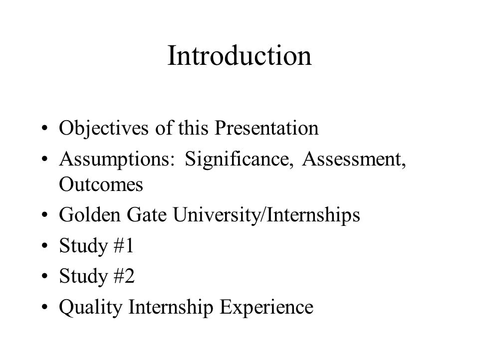 Introduction Objectives of this Presentation