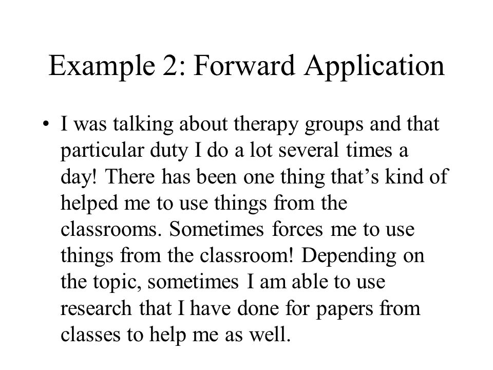 Example 2: Forward Application