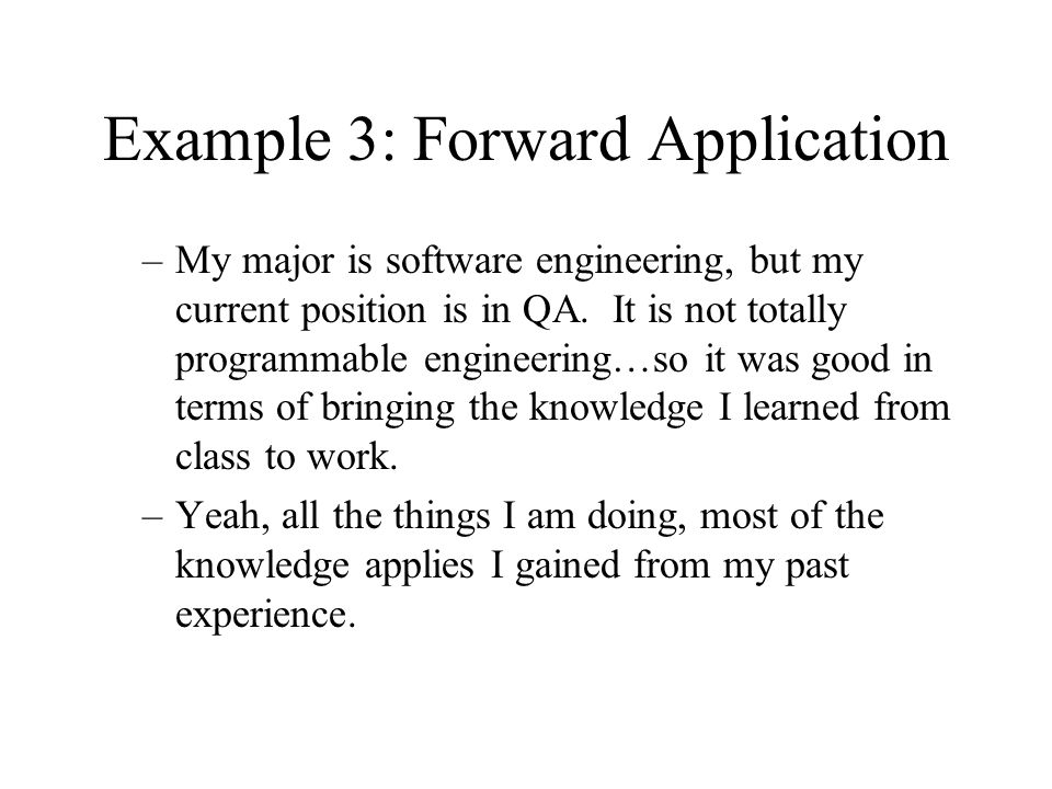 Example 3: Forward Application