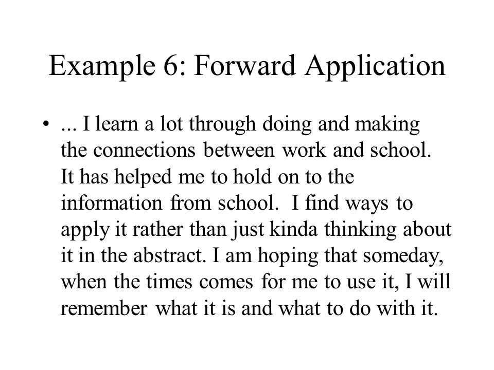 Example 6: Forward Application