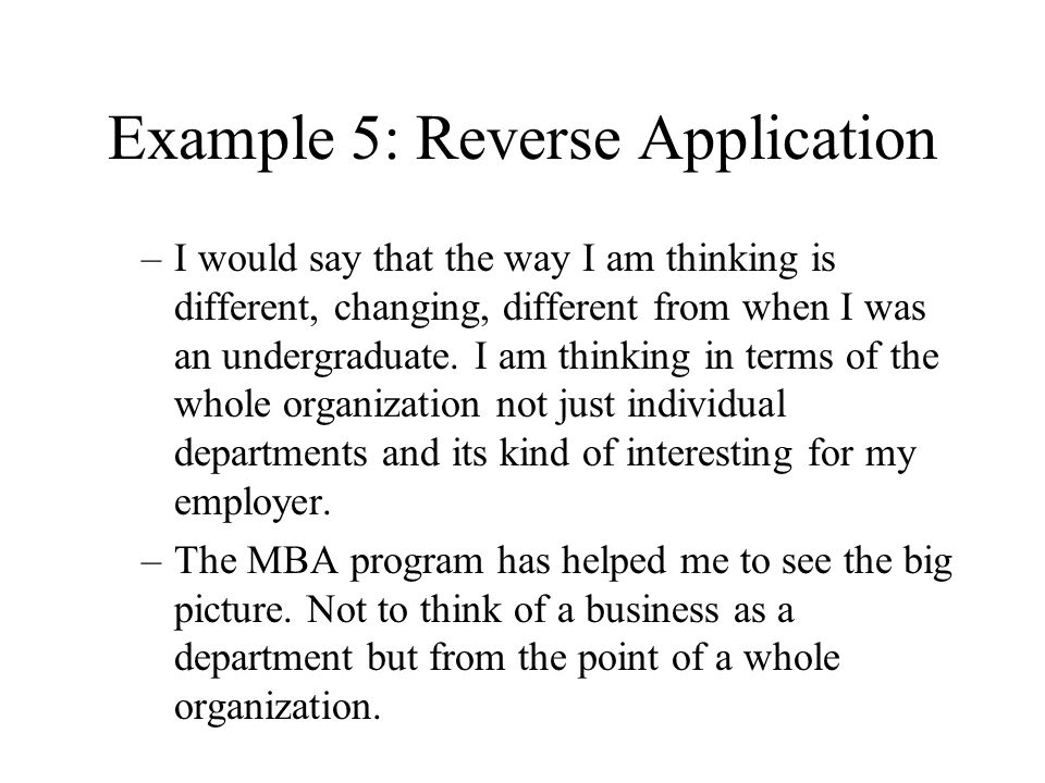 Example 5: Reverse Application