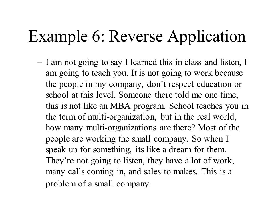 Example 6: Reverse Application
