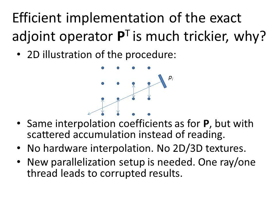 Efficient implementation of the exact adjoint operator PT is much trickier, why