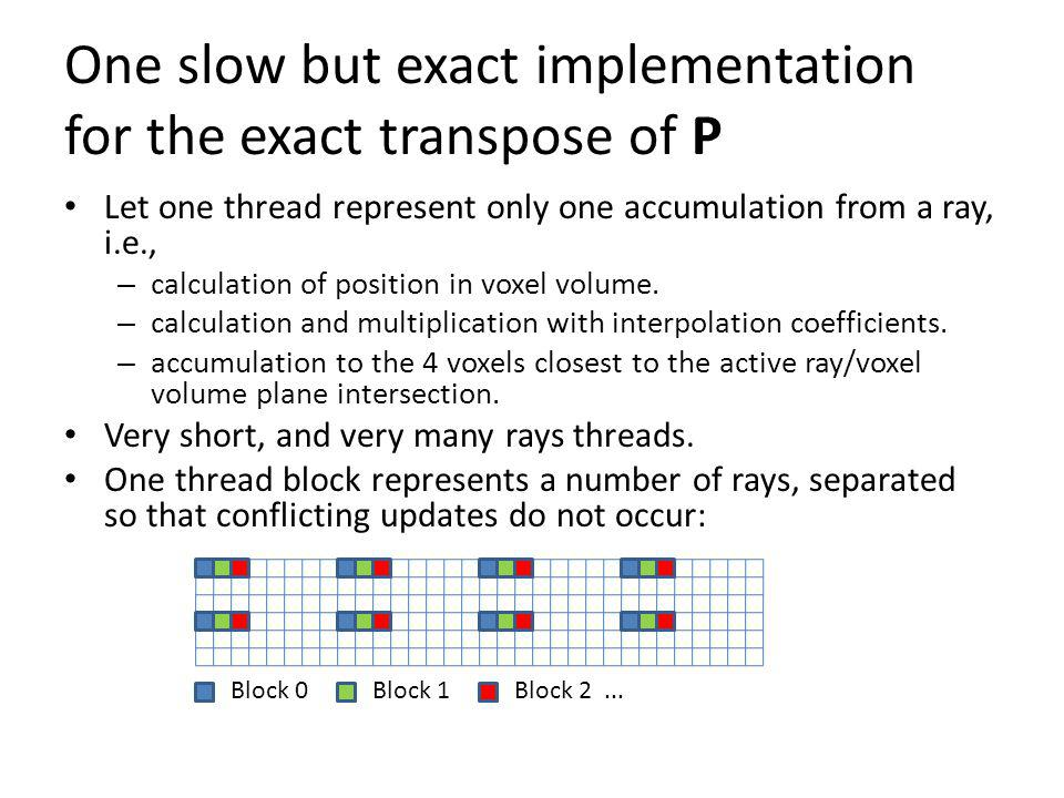 One slow but exact implementation for the exact transpose of P