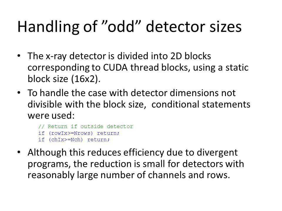 Handling of odd detector sizes