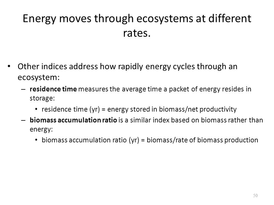 Energy moves through ecosystems at different rates.