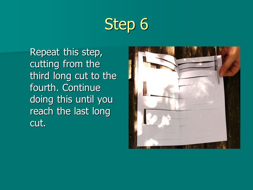 Step 6 Repeat this step, cutting from the third long cut to the fourth.