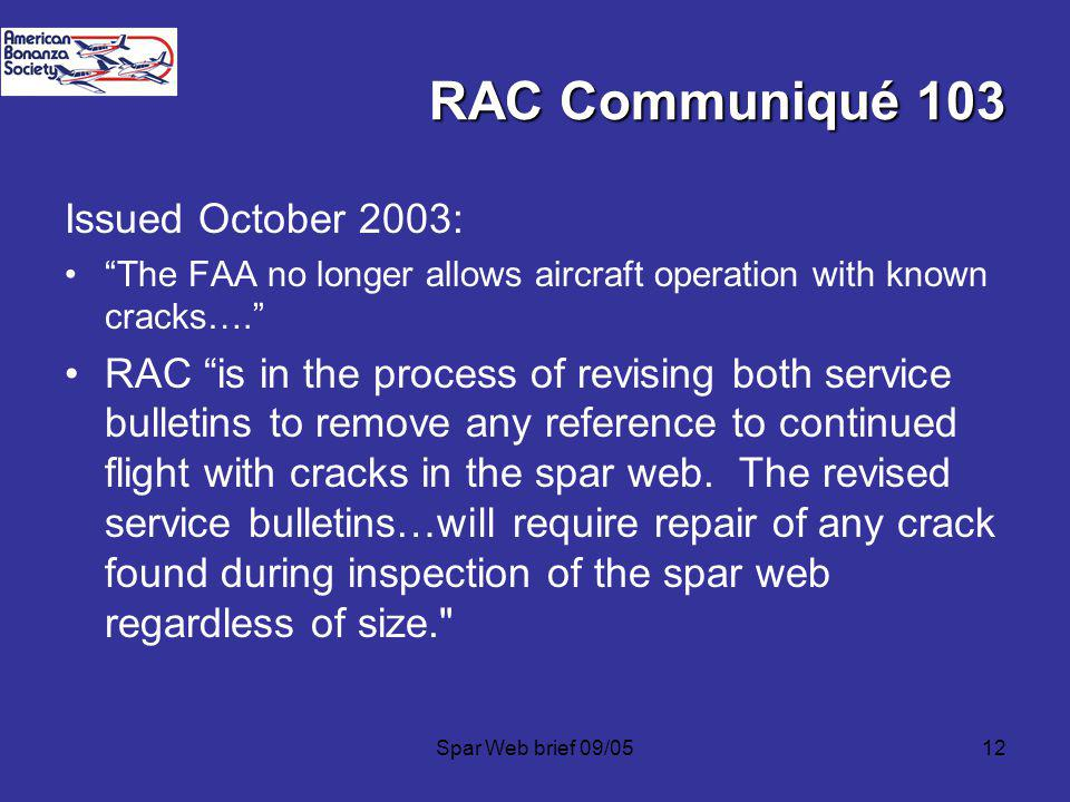 RAC Communiqué 103 Issued October 2003: