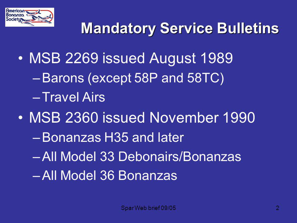 Mandatory Service Bulletins