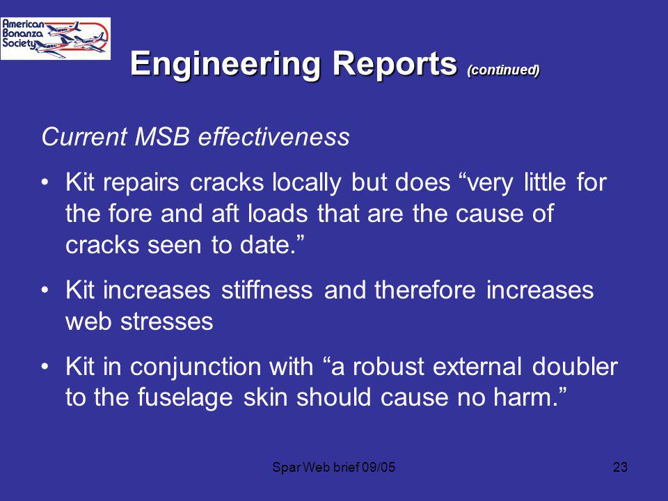 Engineering Reports (continued)