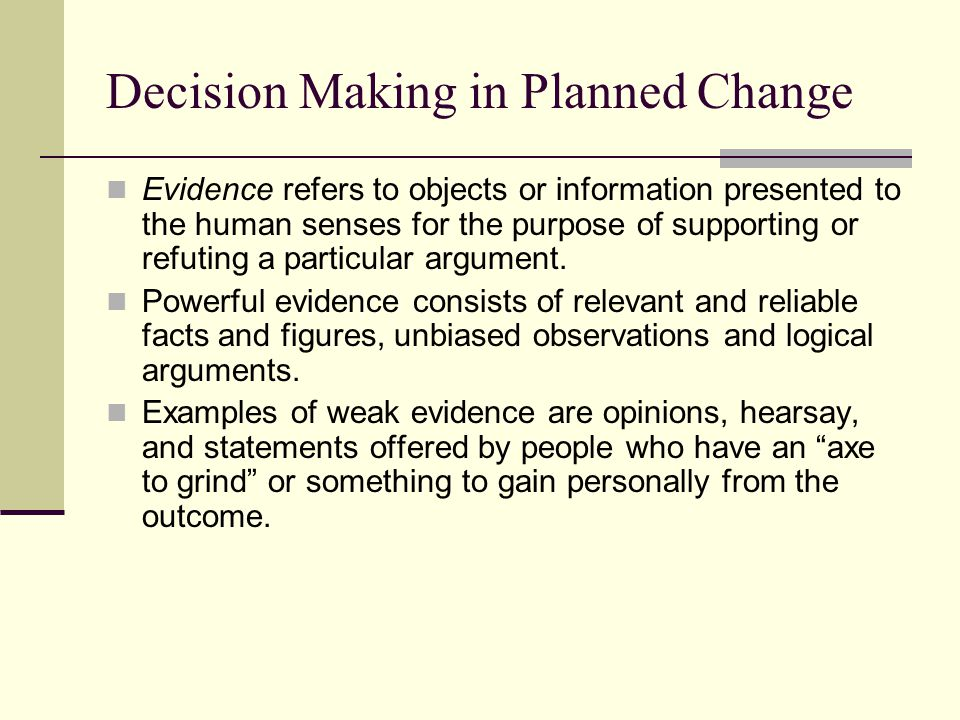 Decision Making in Planned Change