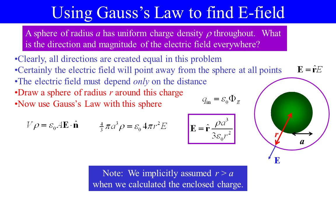 Using Gauss's Law to find E-field