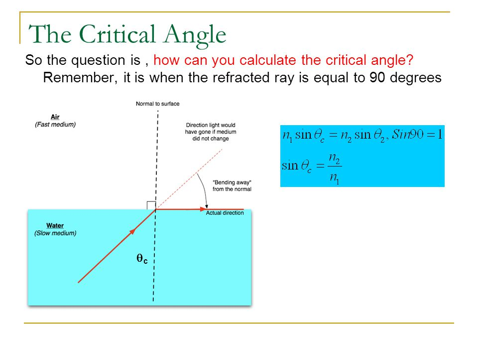 The Critical Angle So the question is , how can you calculate the critical angle Remember, it is when the refracted ray is equal to 90 degrees.