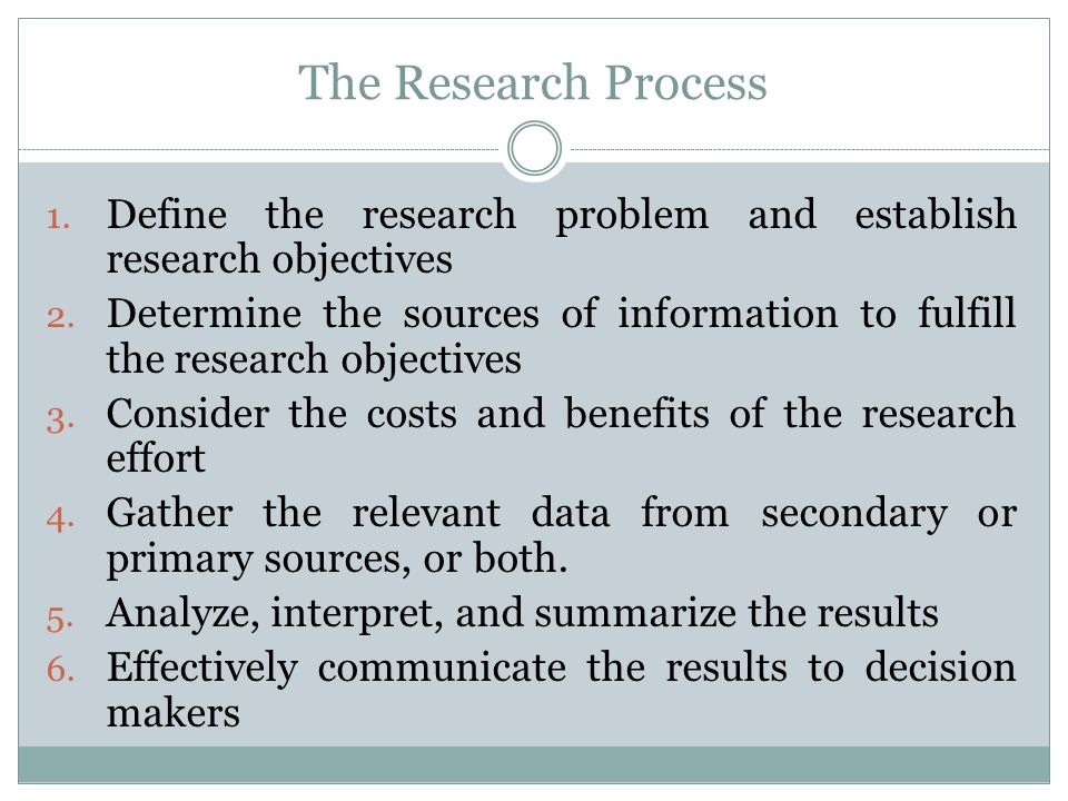The Research Process Define the research problem and establish research objectives.