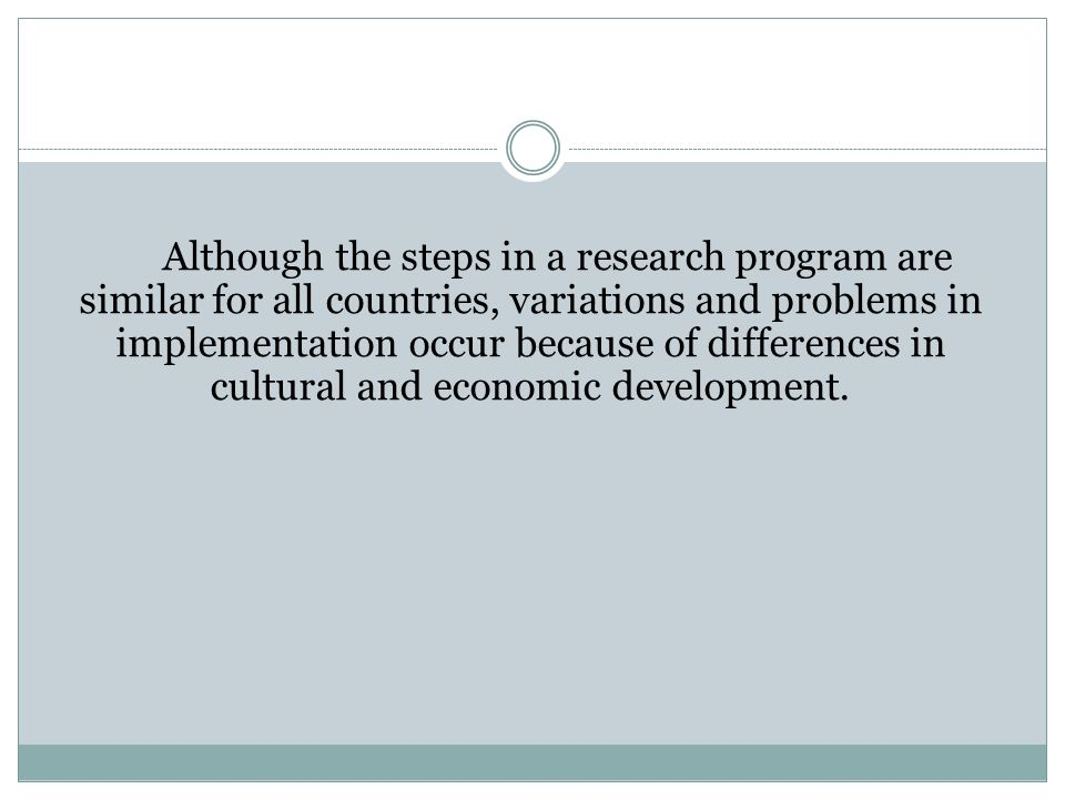 Although the steps in a research program are similar for all countries, variations and problems in implementation occur because of differences in cultural and economic development.