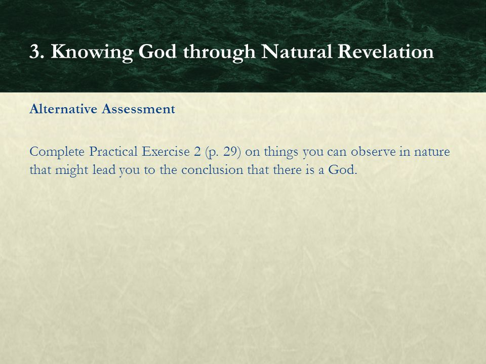3. Knowing God through Natural Revelation