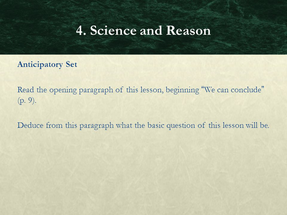 4. Science and Reason