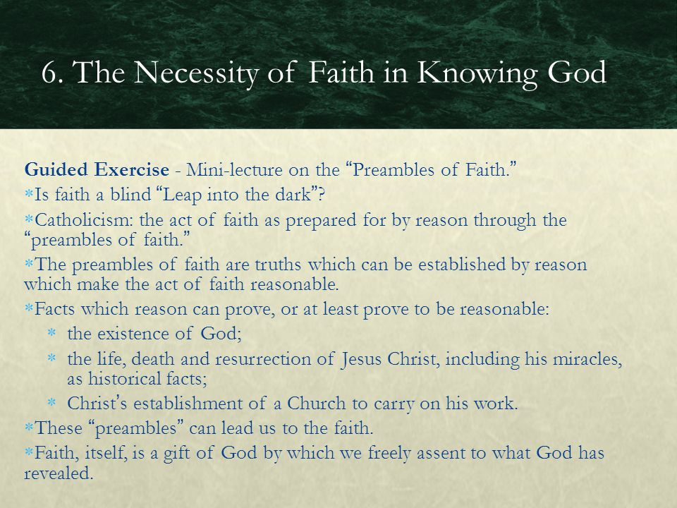 6. The Necessity of Faith in Knowing God