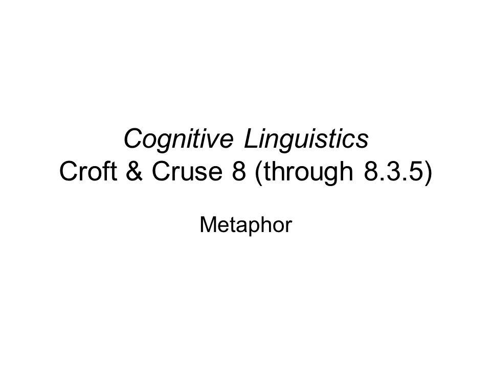 Cognitive Linguistics Croft & Cruse 8 (through 8.3.5)