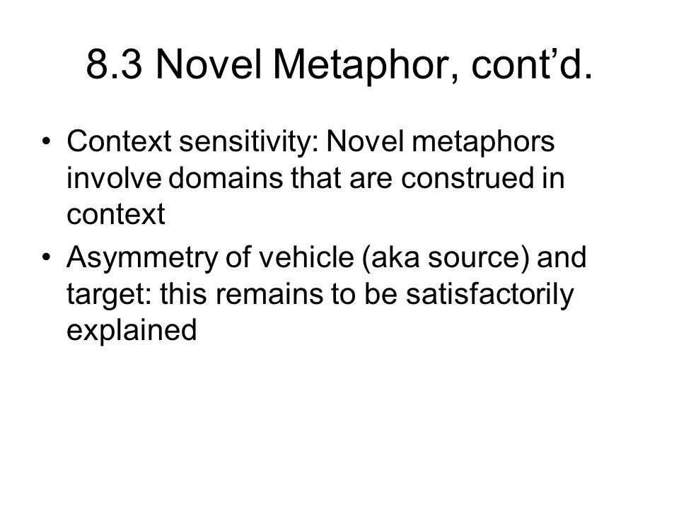 8.3 Novel Metaphor, cont'd. Context sensitivity: Novel metaphors involve domains that are construed in context.