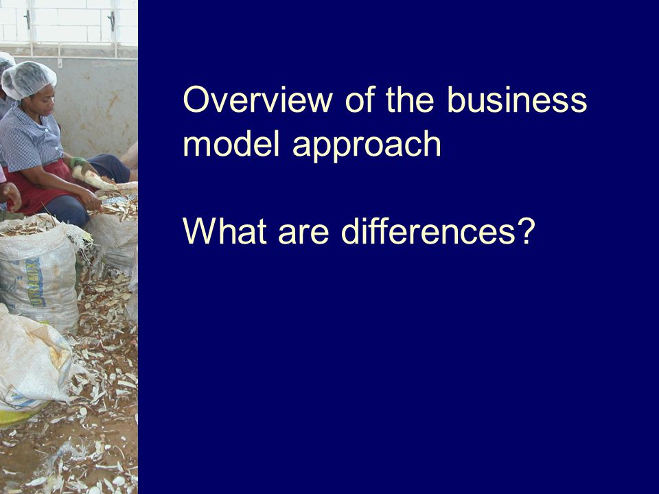 Overview of the business model approach What are differences