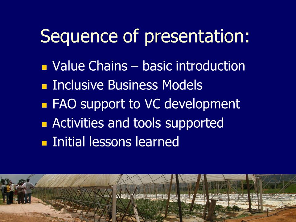 Sequence of presentation: