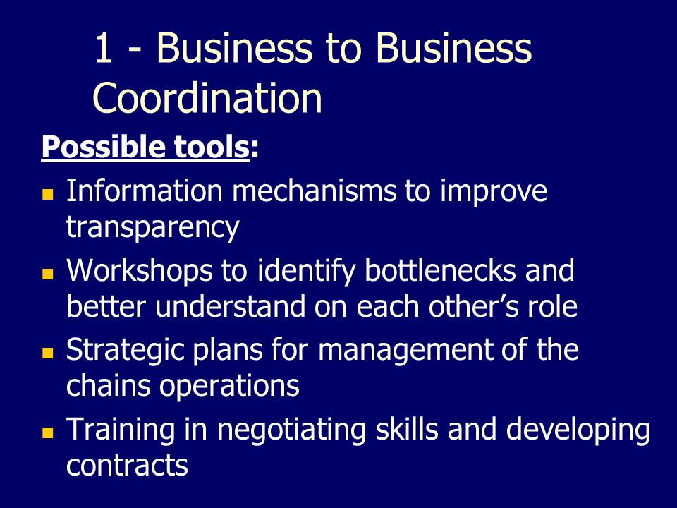 1 - Business to Business Coordination