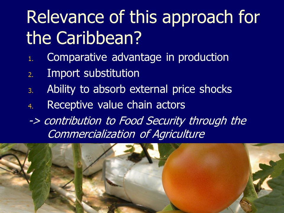 Relevance of this approach for the Caribbean