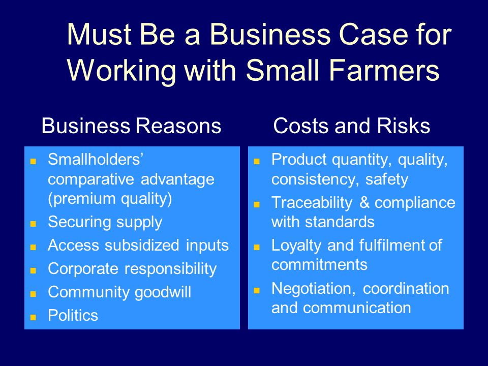 Must Be a Business Case for Working with Small Farmers