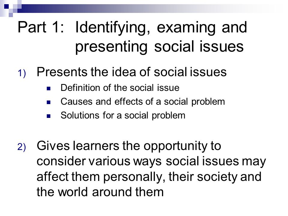 Part 1: Identifying, examing and presenting social issues