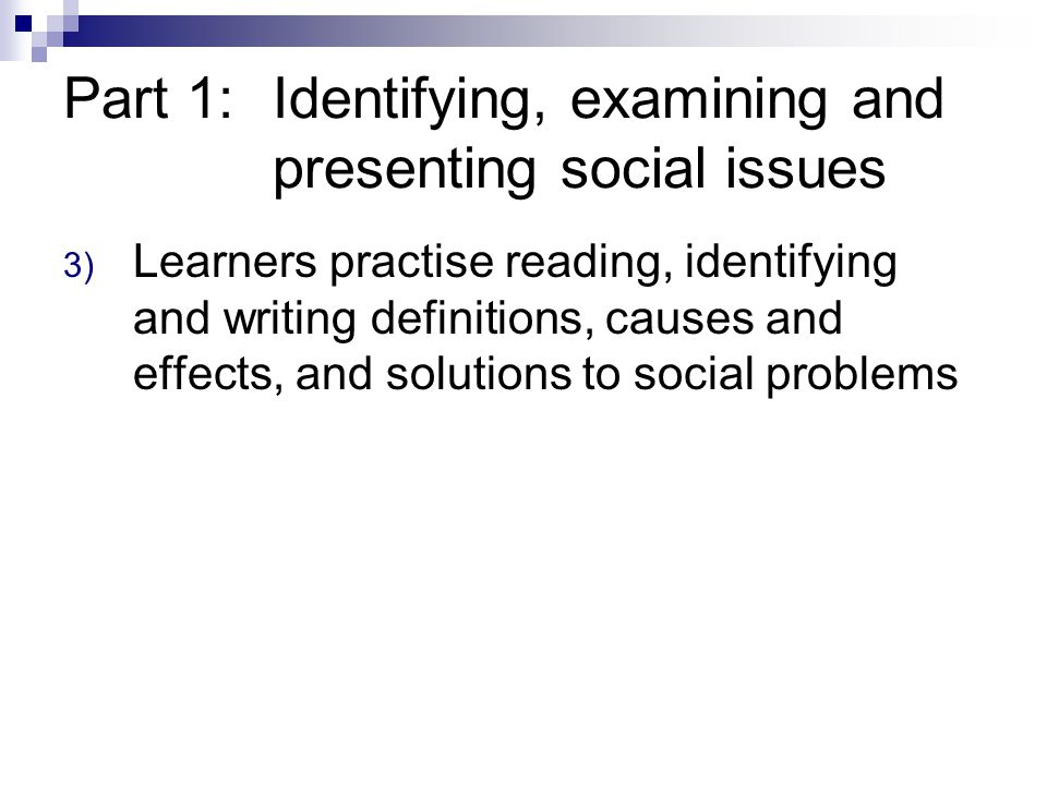 Part 1: Identifying, examining and presenting social issues