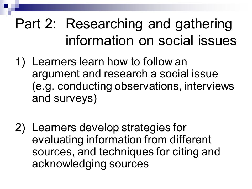 Part 2: Researching and gathering information on social issues