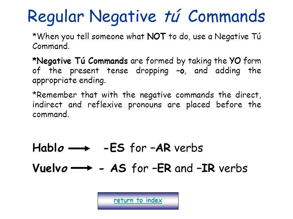 Regular Negative tú Commands