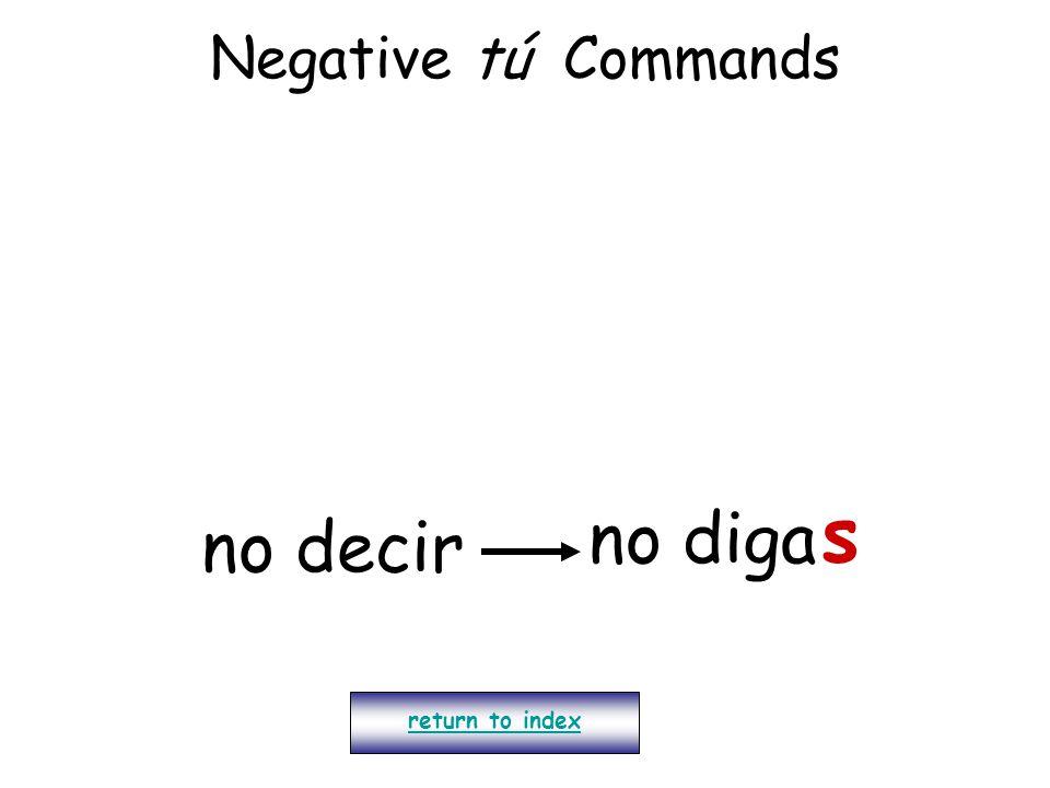 Negative tú Commands s no diga no decir return to index
