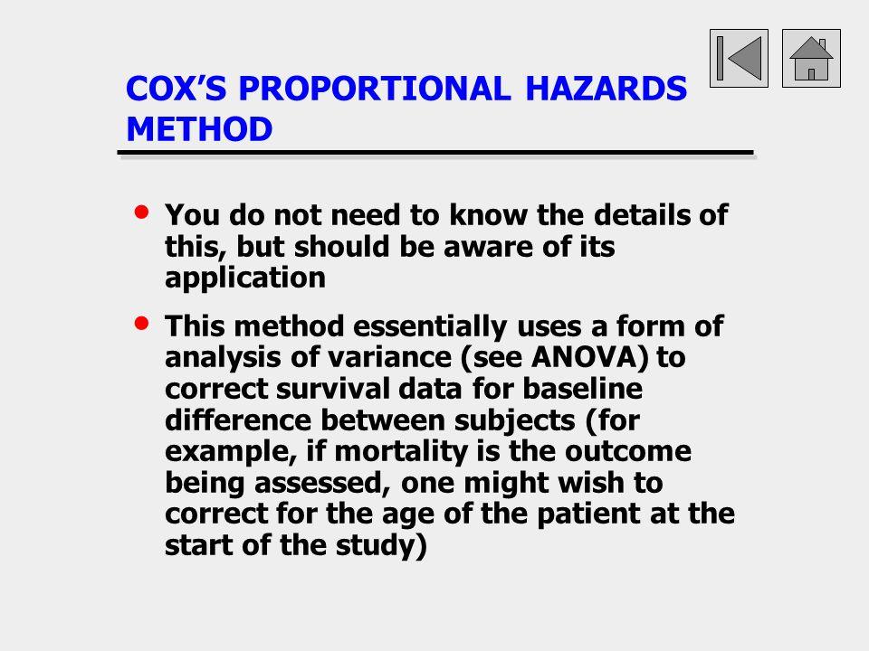 COX'S PROPORTIONAL HAZARDS METHOD