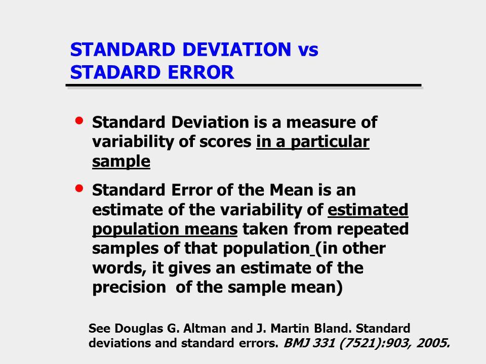 STANDARD DEVIATION vs STADARD ERROR